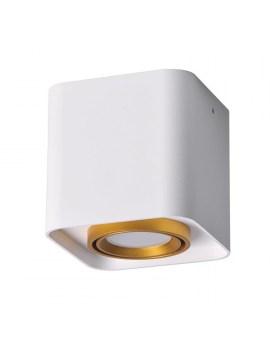 RABAT! DO -18% POLUX 313980 Oprawa natynkowa EGER GU10 kwadrat biało-złote