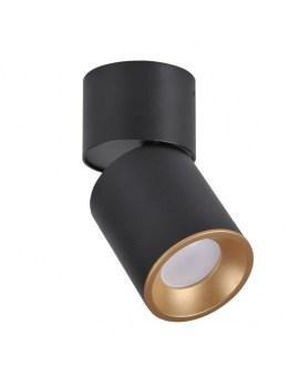 RABAT! DO -18% POLUX 314277 NIXA GU10 Oprawa sufitowa LED lampa natynkowa ruchoma tuba czarny/złoty