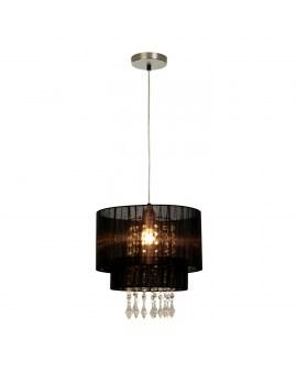 ZUMA ACTION RLD93350-1B LETA ELEGANCKA Lampa wisząca abażurowa Ø30cm żyrandol z kryształkami czarna