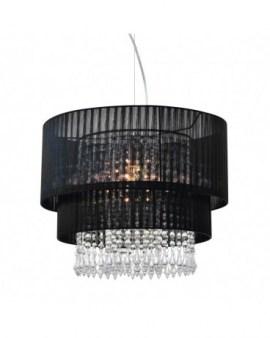 ZUMA ACTION RLD93350-L1B LETA wisząca glamour żyrandol Ø45cm z abażurem i kryształkami mgiełka organza czarna