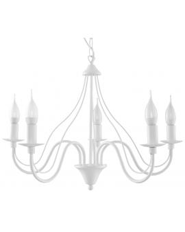 Klasyczna Lampa Wisząca Świece Żyrandol SAVANA 5 Biały