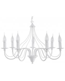 Klasyczna Lampa Wisząca Świece Żyrandol SAVANA 7 Biały