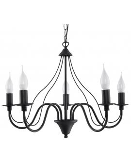 Klasyczna Lampa Wisząca Świece Żyrandol SAVANA 5 Czarny