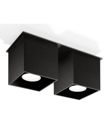 Kwadratowa Lampa Sufitowa Podwójny Plafon Neptun 2 Czarny Kostka Led