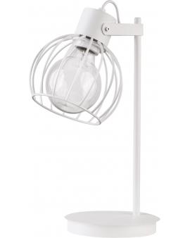 Lampa stołowa Luto koło biała loft metal siatka 50087 SIGMA