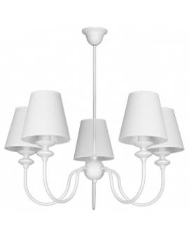 Żyrandol klasyczny prowansalski RAFAELLO 5 z białymi abażurami dekoracyjny