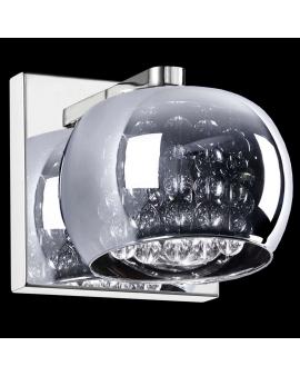 Kinkiet LAMPA szklana ERATO KWADRAT ścienna OPRAWA glamour z kryształkami crystal chrom