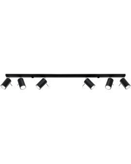 Spot LAMPA sufitowa stal RING 6xGU10 czarny REGULOWANE reflektory szyna LISTWA kierunkowe metalowe TUBY