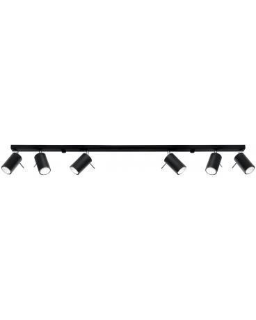 Plafon Ruchome Główki Szyna Regulowane Punkty świetlne Oval 6 Czarny