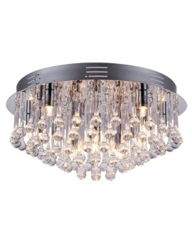 Ekskluzywny Żyrandol kryształowy glamour GONG 4 plafon sufitowy z kryształkami przezroczysty/chrom