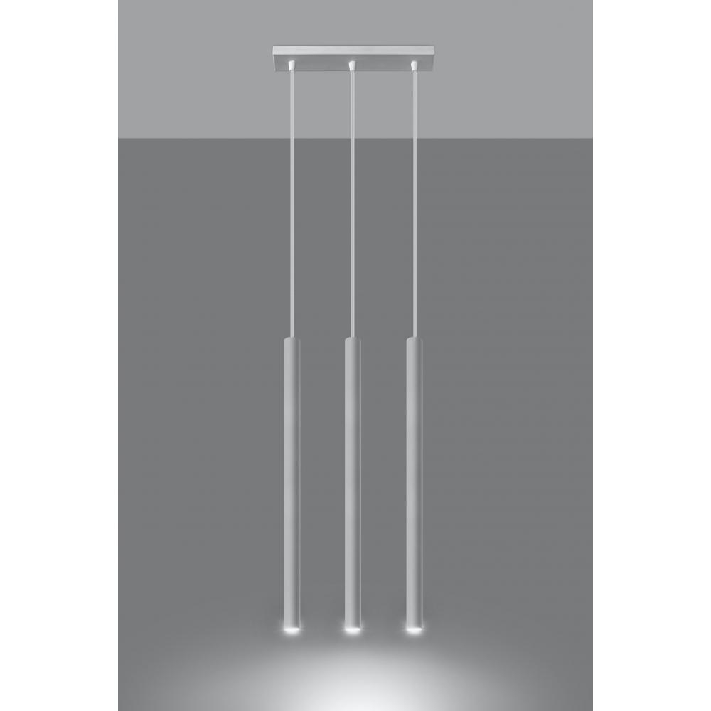 Długa Lampa Wisząca PASTELO 3 Biały Wąskie Metalowe Klosze Tuby