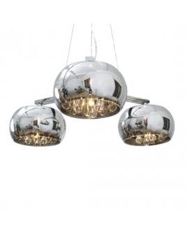 Wisząca LAMPA szklane kule ERATO sople 3pł. Żyrandol listwa chrom glamour z kryształkami przezroczyste szkło