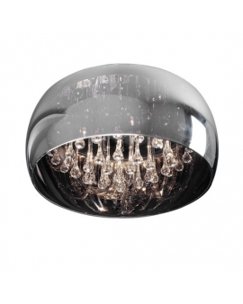 Sufitowa LAMPA szklana kula C0076-05L-F4FZ ZUMA CRYSTAL Ø40CM Plafon glamour Żyrandol z kryształkami przezroczyste szkło chrom