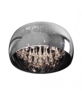 Sufitowa LAMPA szklana kula ERATO Ø40CM Plafon glamour Żyrandol z kryształkami przezroczyste szkło chrom