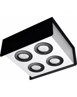 WYS.24H! LAMPA Sufitowa HIKARI 4 PLAFON ruchomy Metalowy Czarny/Biały