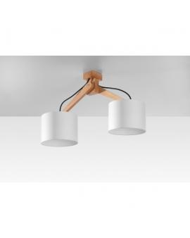Lampa Sufitowa GOTOKU 2 Plafon Żyrandol Do Salonu Abażur Drewno