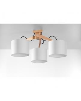 Drewniana Lampa Sufitowa GOTOKU 3 Białe Abażury Styl Skandynawski
