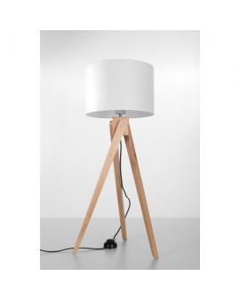 Efektowna Drewniana Lampa LEGNO 1 Podłogowa Stojąca Drewno Abażur